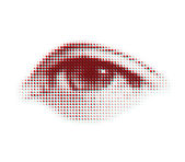 Vector halftone eye shape for backgrounds and design — Stock Vector