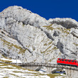 Red cogwheel train at Pilatus, Switzerland — Stock Photo