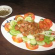 Cambodian dish  Lok Lak  with pepper sauce — Stock Photo