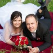 Stock Photo: A classical newly wed couple portrait