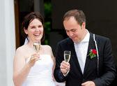 Newlyweds gining a toast — Stock Photo