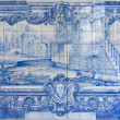 Blue handpainted tiles, Azulejos — Stock Photo