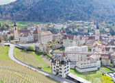 Historic Chur surrounded by vinyards and mountains, Switzerland — Stock Photo