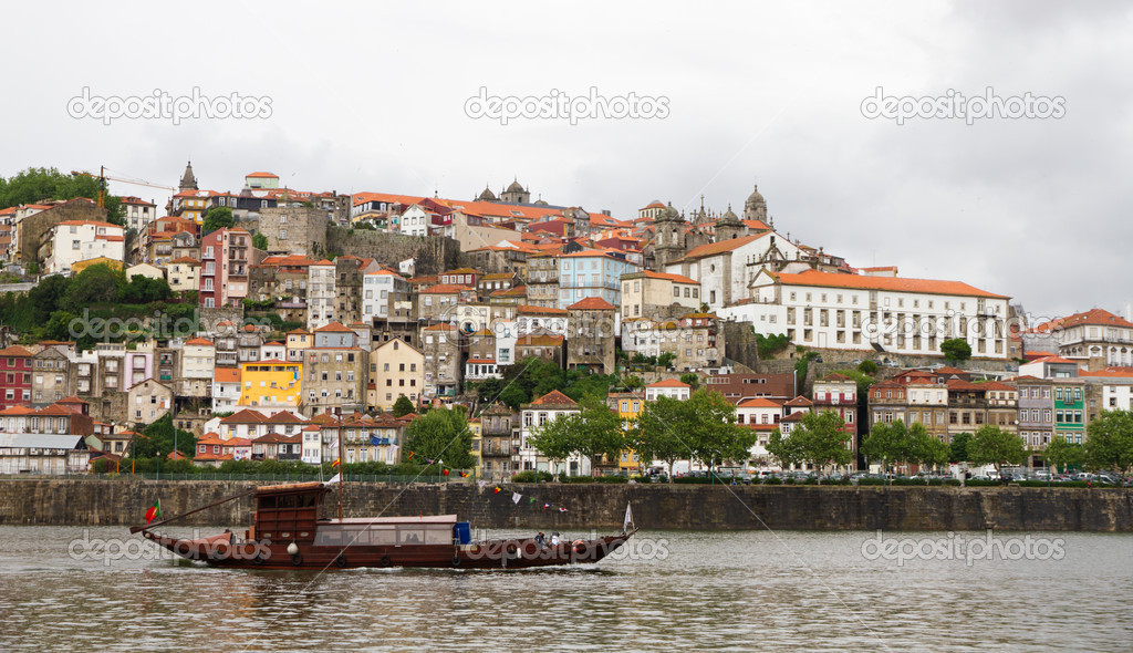 Panorama old Porto at river Duoro,with Port transporting boats,  Oporto, Portugal  Stock Photo #6943883