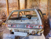 Car wreck in barn wreck — ストック写真
