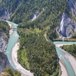 ������, ������: Glacier Express crosses bridge and Rhine bend