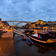Porto panorama, gece, Portekiz — Stok fotoğraf