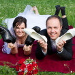 Newlywed youple having fun — Stock Photo