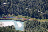 Train Glacier Express drives alongside river Rhine in canyon — Stock Photo