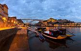 Panorama del porto di notte, portogallo — Foto Stock