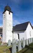 White classic village church, Switzerland — Foto Stock