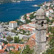 Chapel above town and Kotor bay, Montenegro — Stock Photo