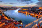 Porto, river Duoro and bridge at night — Foto Stock