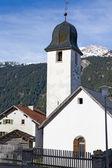 White classic village church, Switzerland — Stock Photo