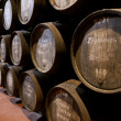 Port wine ages in barrels in cellar — Stock Photo #7148644