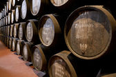 Port wine ages in barrels in cellar — Stock Photo