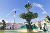 Fountain on Rossio square, Lisbon — Stock Photo