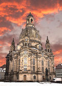 Church of our lady at sunset, Dresden — Stock Photo