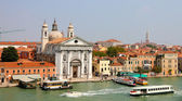 Venice from the sea with church Santa Maria del Rosario — Stock Photo