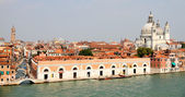 Venice from the sea with church Santa Maria del Salute — Stock Photo