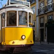 Classic yellow tram of Lisbon, Portugal — Stok fotoğraf