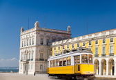 Lisbon yellow tram at central square Praca de Comercio, Portugal — Stock Photo