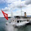 Stock Photo: Steamboat with swiss flag