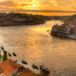 Porto with river Duoro at sunset — Stock Photo
