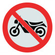 No motorcycle sign, isolated bike prohibition zone signage — Stock Photo
