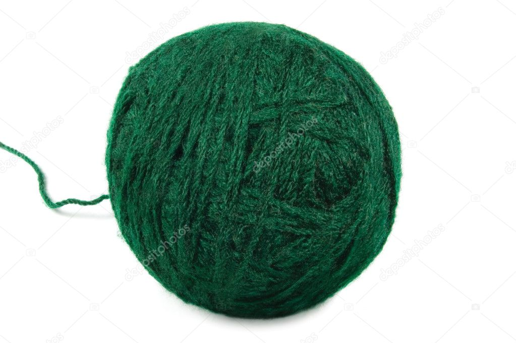 Natural green fine wool ball and thread, isolated clew macro closeup — Stock Photo #6822950