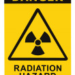 Radiation hazard symbol sign of radhaz threat alert icon, black yellow — Stock Photo #7629794