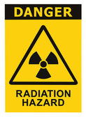 Radiation hazard symbol sign of radhaz threat alert icon, black yellow — Stock Photo