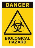 Symbol znak zagrożenia biologicznego alertu czarny żółty trójkąt — Zdjęcie stockowe