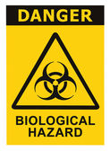 Biohazard symbol sign of biological threat alert black yellow triangle — Stock Photo