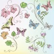Set of flowers and butterflies — Stock Vector #6945133