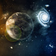 Space of galaxy with stars and planet — Stock Photo