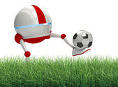 Robot playing soccer — Stock Photo