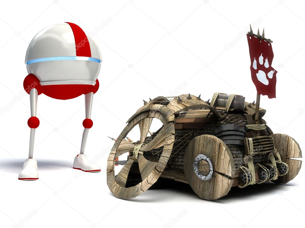 Funny robot and old car isolated on white background  Lizenzfreies Foto #7012144