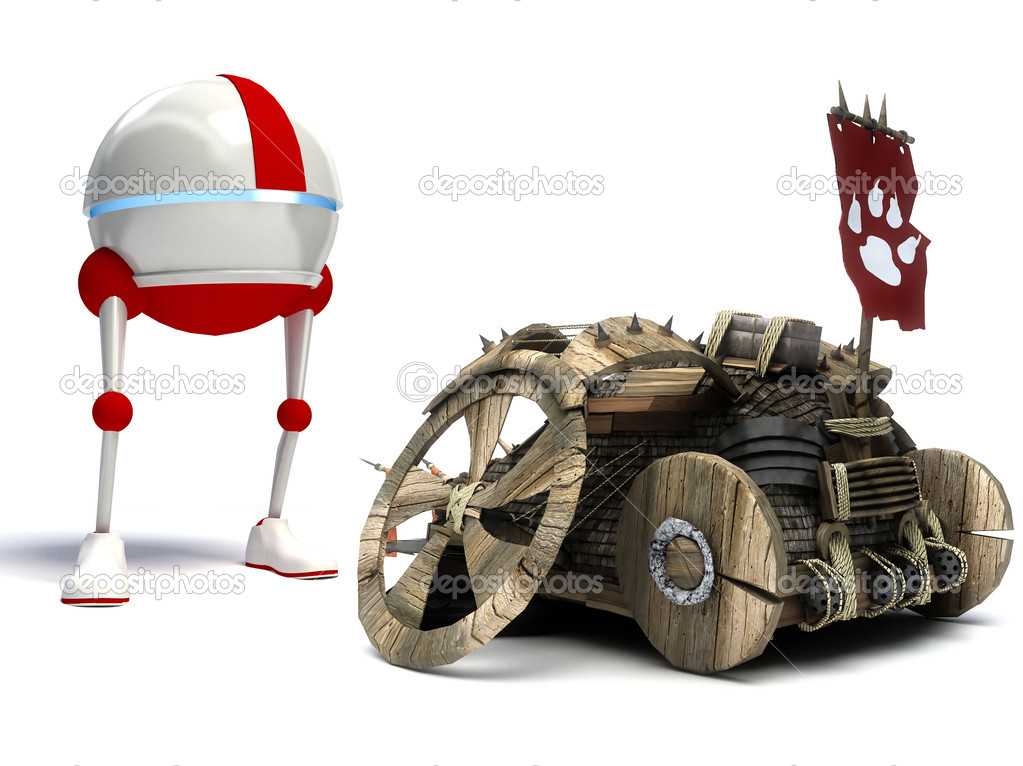 Funny robot and old car isolated on white background — Lizenzfreies Foto #7012144