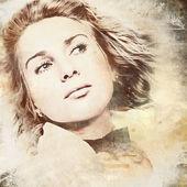 Donna con i capelli fluttuanti su sfondo grunge — Foto Stock