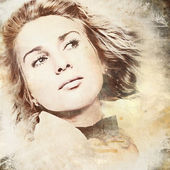 グランジ背景に渦巻く髪を持つ女性 — ストック写真
