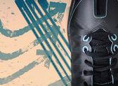 Close up black sport shoe on grunge background — Stock Photo