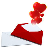 Illustration with envelope and red hearts — Stock Photo