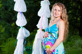 Pregnant women in park — Stock Photo