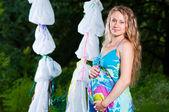 Pregnant women in park — Stock Photo