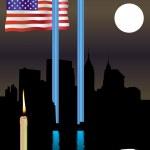 Twin Towers memorial flag — Stock Vector
