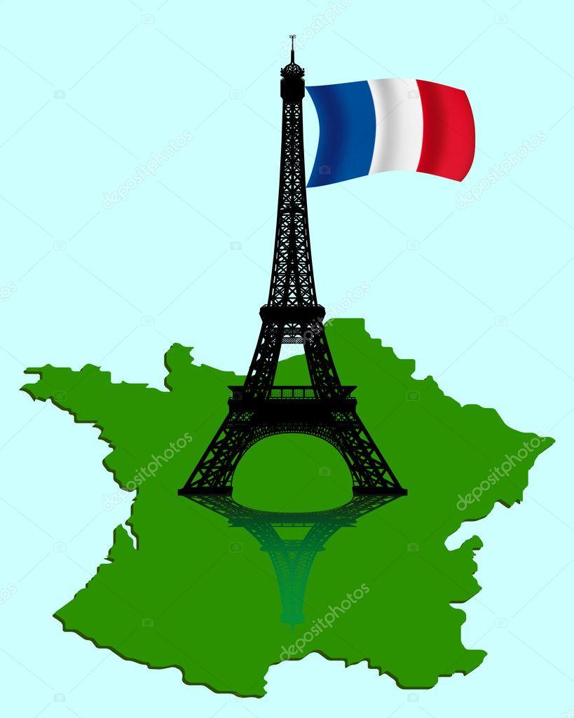 埃菲尔铁塔与地图和法国国旗