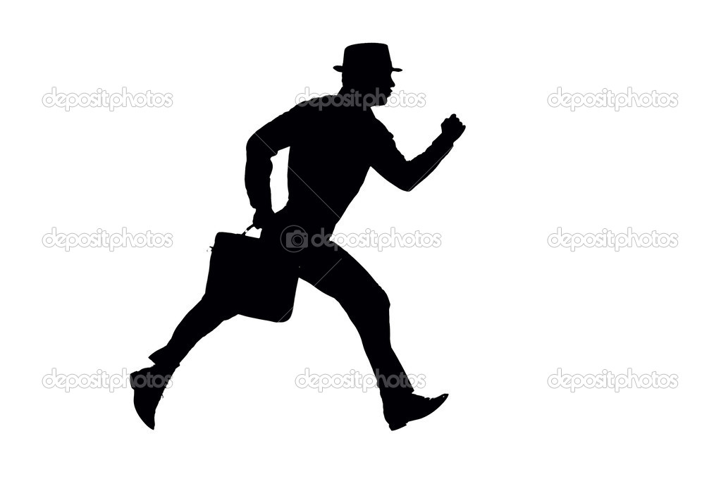 Silhouette of a Salesman in business suit and a fedora running with a briefcase Clipping path included — Stock Photo #6755681