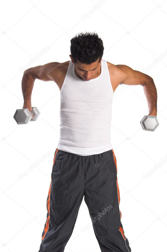 Young Hispanic man working out in the gym with free weights — Stock Photo #6756852