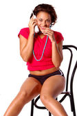Sultry Telephone Woman — Stock Photo